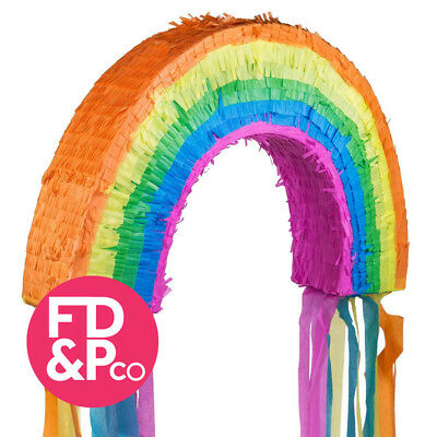 "14.5"" H x 22.5"" W Rainbow Theme Pull Pinata With or Without Optional Stick"