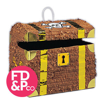 "10.5"" x 12"" Pirate Treasure Chest Bash Pinata Birthday Party Game Decoration"