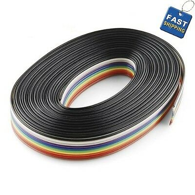 15 Feet IDC 10P 1.27mm Rainbow Color Flat Ribbon Cable 10 Conductors for 2.54mm