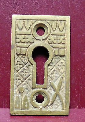 1 Victorian Antique Cast Brass Key Escutcheon Keyhole Cover #0