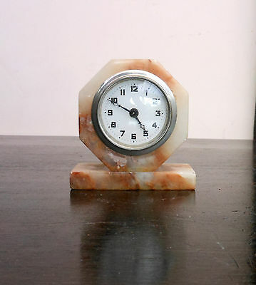 Super Art Deco marble or onyx mantle clock in working order.