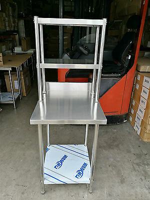 New Stainless Steel Bench with Splash back and Over-shelving 60x70x90x60x30x73cm