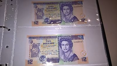 QUEEN ELIZABETH $2 two dollars notes,cons numbers rare UNC