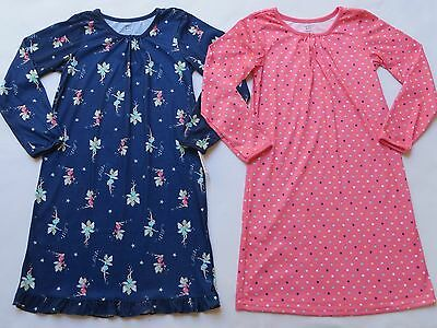 NWT CARTER'S Girls Size 8 10 Set of 2 Nightgowns Pajama Blue Pink Fairies Dots