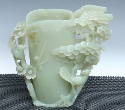 China Exquisite Hand-carved pine flower bird carving Hetian jade Pen holder