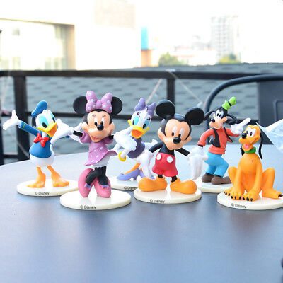 6pcs Disney Mickey Mouse Minnie Donald Daisy Goofy Pluto Figure Cake Topper 8CM