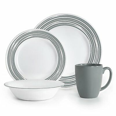 Corelle Vitrelle Glass Brushed Chip and Break Resistant Dinner Set of 16, Silver