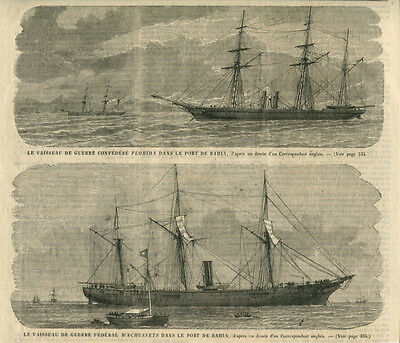 1864 Prints Engraving Warships Frigates Florida and Wachussets in Bahia Port