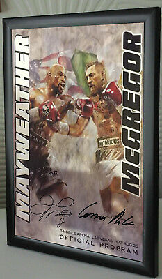 Conor McGregor Floyd Mayweather Programme A4 Boxing V UFC canvas tribute signed