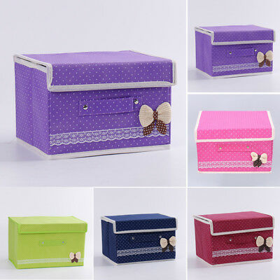 Foldable Storage Collapsible Folding Box Clothes Organizer Fabric Cube W/ Handle