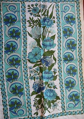 Vintage Linen Tea Towel Blue Floral