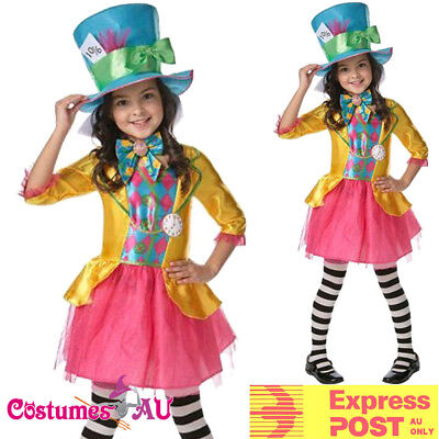 Italian Made Girls Deluxe Mad Hatter Alice Book Day Fancy Dress Costume Outfit