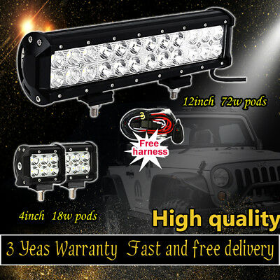 12inch LED Work Light Bar+2X4inch18W CREE LED Pods Offroad SUV Jeep Truck Ford