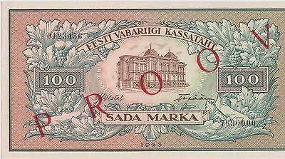 Estonia 100 Marka 1923 P 51p F/B Proof Uncirculated Banknote