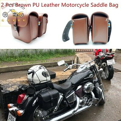 2X New Universal Brown PU Leather Motorcycle Saddle Bags Side Storage Tool Pouch