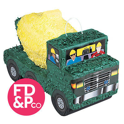 Green Cement Construction Truck Bash Pinata Birthday Party Game Decoration