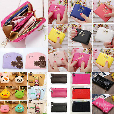 Women Girls Leather Coin Purse Zipper Small Card Holder Wallet Pouch Small Bags