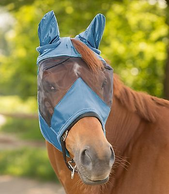Fly mask, Coupling mask PREMIUM m Ears, black, dove blue P, THOROUGHBRED, WB