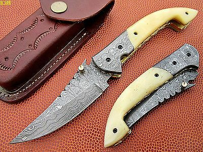 Custom Hand Made Damacsus Steel Hunting Pocket Knife With Camel Bone Handle.