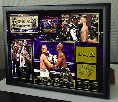 Conor McGregor v Floyd Mayweather A4 Boxing Vs UFC canvas tribute signed
