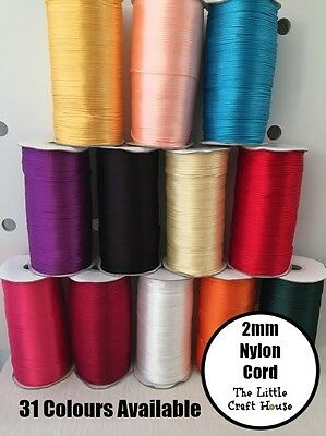 5 or 10 Metre Nylon Cord 2mm 31 Colours for Silicone Bead Necklace Jewellery