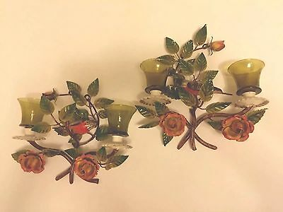 A pair of Vintage Italy Tole Shabby bird with pink  Barbola rose Sconces