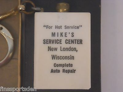 Vtg MIKE'S SERVICE CENTER Advertising Permanent Match Keychain ~ New London Wis