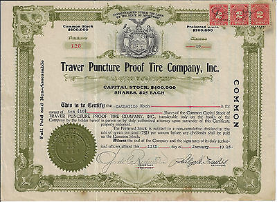 NEW YORK 1916 Traver Puncture Proof Tire Company Inc Stock Certificate