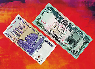10 Billion Zimbabwe Dollars Bank Note +10,000 Afghanistan Afghanis Banknotes UNC