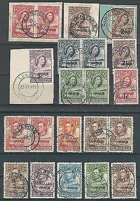 (7456)  Bechuanaland 1940 / 57, KG VI,  QE 16 stamps with clear postmarks