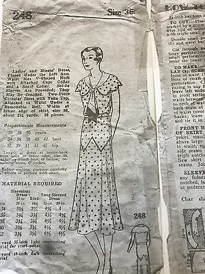 Antique Sewing Pattern- Ladies Dress 1930's