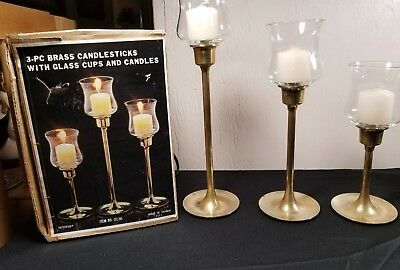 Vintage Lot of 3 Sizes Interpur Taiwan Brass Candle Holder Stick Candlesticks