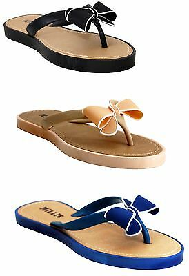 Womens Ladies Flip Flops Jelly Bow Sandals Summer Beach Toe Post Shoes Size 3-8