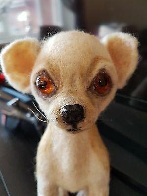 Felted Wool CHICHUAHUA 3D Portrait Sculpture