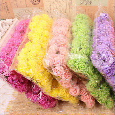144pcs Mini Foam Rose fake Artificial Flowers Rose Bouquet home Wedding Decor UK