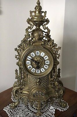 3pc solid BRONZE Mantel Clock and Candelabra Antique Garniture Vintage