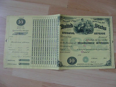 USA Dealer in Manufactured Tabacco Sondersteuer  Steuermarke 10 Dollar 1882