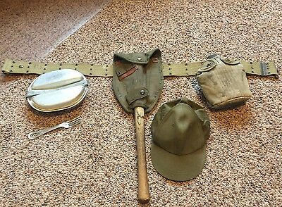 WW2 US Web Belt With Canteen, Shovel, Mess Container & Hat WWII