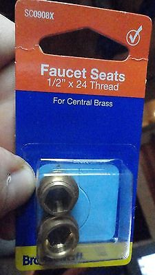 "Faucets Seats for Central Brass Faucets 1/2"" x 24 Thread  BrassCraft SC0908x"