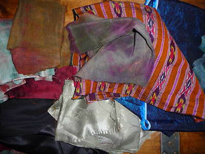 Some Vintage Mixed Lot of Silk/Rayon/Hemp Scraps  14 Pieces