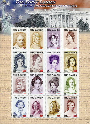 Gambia 2017 MNH First Ladies of USA Washington 16v M/S I US Presidents Stamps