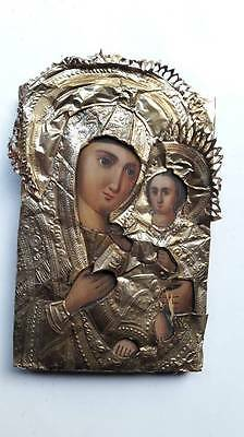 Antique 19c Russian Orthodox Hand Painted on wood Icon Mother of God.