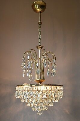 Ornate Brass Antique French Vintage Crystal Chandelier Lamp Art Nouveau Lighting