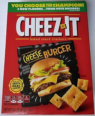 NEW Cheez-It 2017 Cheeseburger Baked Snack Cheese Crackers FREE WORLDWIDE SHIPPI