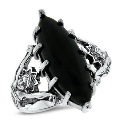 Antique Victorian Style Sim Onyx 925 Sterling Silver Mermaid Ring Size 8,   #579