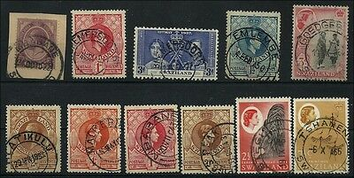 Swaziland small lot of different postmarks on KGV, KGVI, QE, with SA stamp used