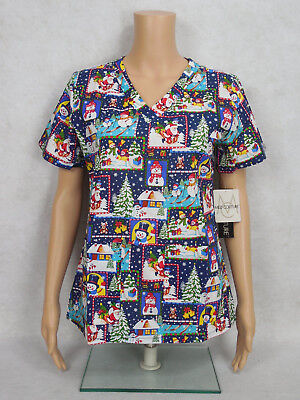 "Med Couture Christmas Scrub Top Style 9424 Anna. ""Let It Snow"" LETS *NEW*"