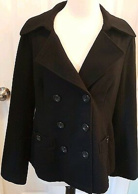 Women's Motherhood Maternity Black Peacoat Coat Jacket Size Medium Wool Blend