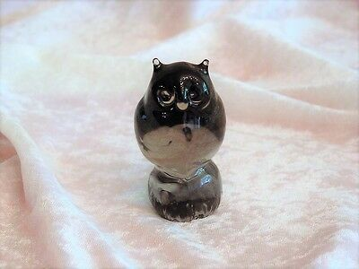 Antique Purple Art Glass Owl Figurine~Hand-Blown Glass~EXC