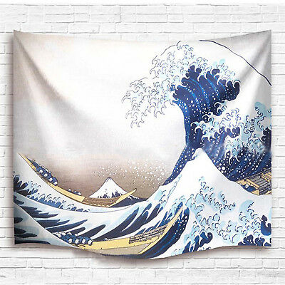 Ocean Theme The Great Wave Off Kanagawa Print Fabric Wall Hanging Tapestry Decor